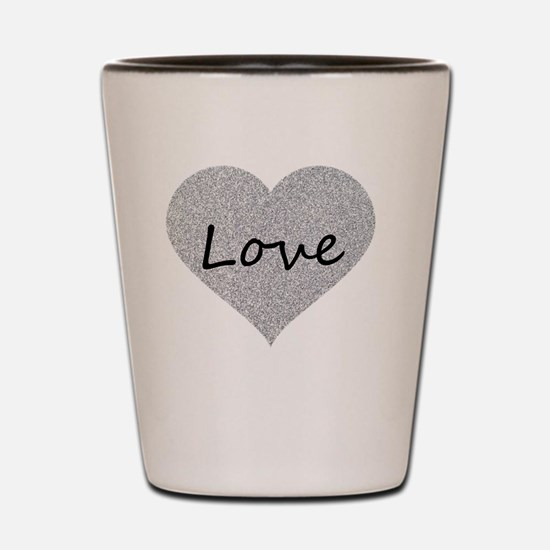 Love Silver Glitter Heart Shot Glass