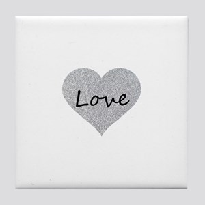 Love Silver Glitter Heart Tile Coaster