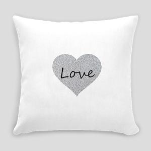 Love Silver Glitter Heart Everyday Pillow