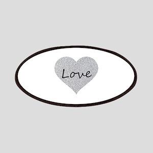 Love Silver Glitter Heart Patch