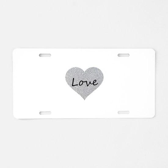 Love Silver Glitter Heart Aluminum License Plate