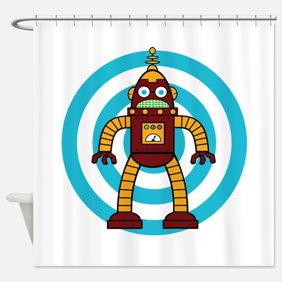 Red/Yellow - Robot Shower Curtain