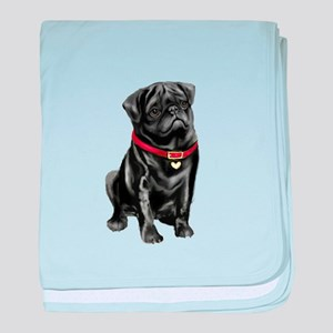 Black Pug (#1) baby blanket