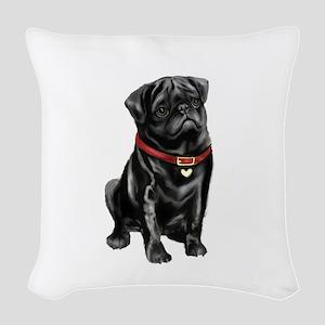 Black Pug (#1) Woven Throw Pillow