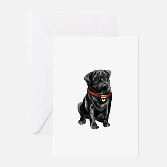 Black Pug (#1) Greeting Card