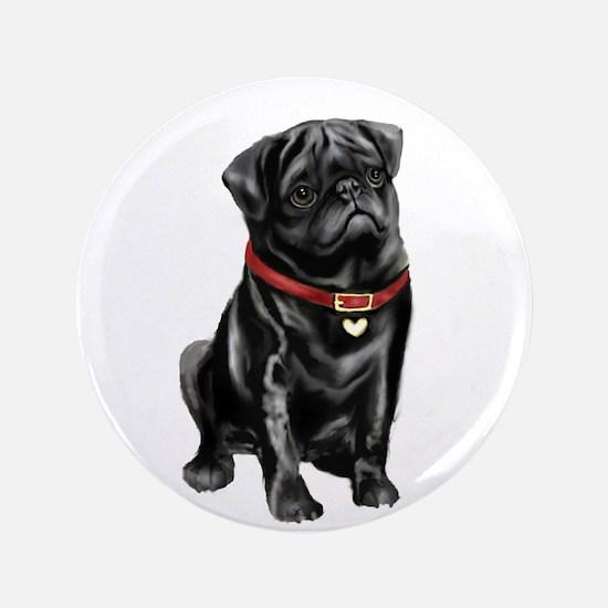 "Black Pug (#1) 3.5"" Button"