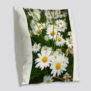 Meadow of daisies Burlap Throw Pillow