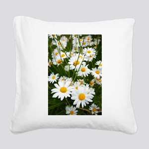 Meadow of daisies Square Canvas Pillow