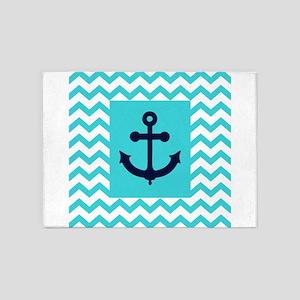Anchor in Navy and Aqua 5'x7'Area Rug