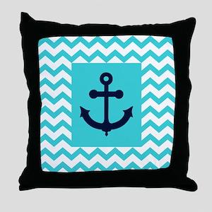 Anchor in Navy and Aqua Throw Pillow