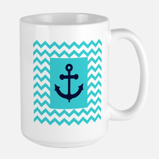 Anchor in Navy and Aqua Mugs