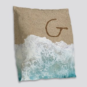 LETTERS IN SAND G Burlap Throw Pillow