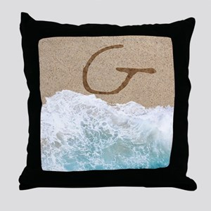 LETTERS IN SAND G Throw Pillow