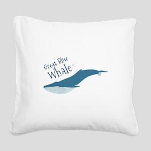 Great Blue Whale Square Canvas Pillow