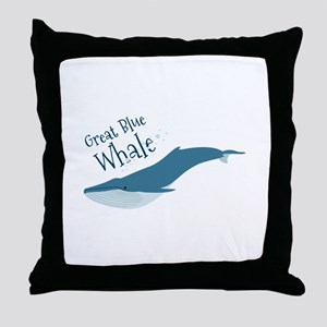 Great Blue Whale Throw Pillow