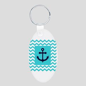 Anchor in Navy and Aqua Aluminum Oval Keychain