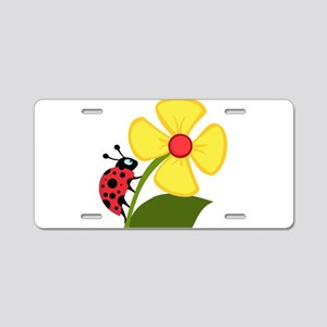 LADYBUG and FLOWER Aluminum License Plate