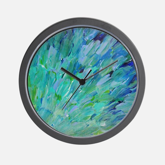 Sea Scales - Ombre Teal Ocean Abstract Wall Clock