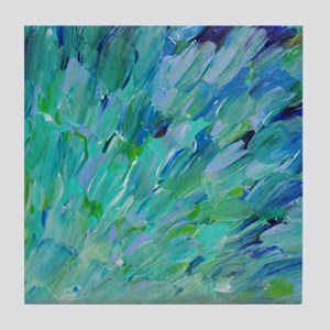 Sea Scales - Ombre Teal Ocean Abstract Tile Coaste