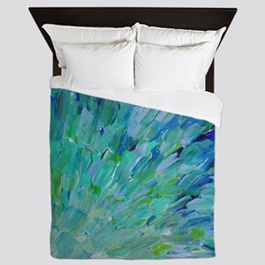 Sea Scales - Ombre Teal Ocean Abstract Queen Duvet