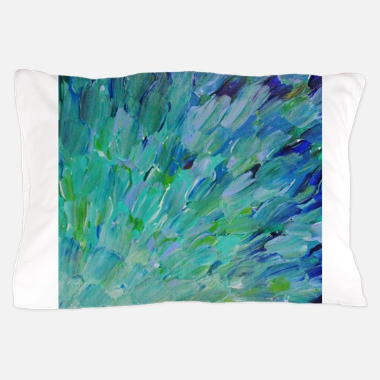 Sea Scales - Ombre Teal Ocean Abstract Pillow Case
