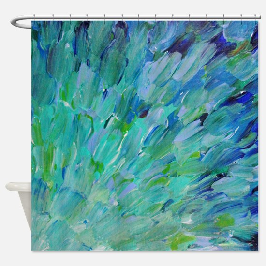Sea Scales - Ombre Teal Ocean Abstract Shower Curt