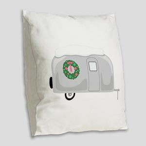 Christmas Trailer Burlap Throw Pillow