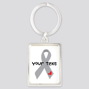 Diabetes Personalized Ribbon Portrait Keychain