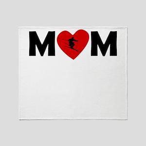 Skiing Heart Mom Throw Blanket