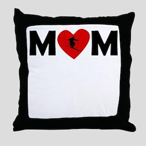 Skiing Heart Mom Throw Pillow