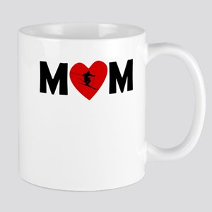 Skiing Heart Mom Mugs