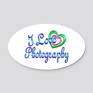 I Love Photography Oval Car Magnet