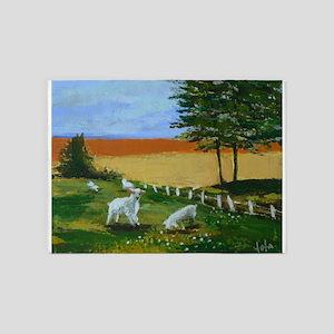 Little lambs in a field 5'x7'Area Rug