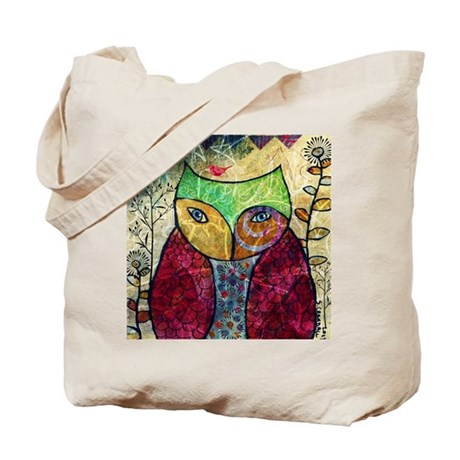 Swirly Owl Collage Tote Bag