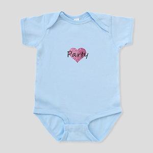 Party Pink Glitter Heaart Body Suit