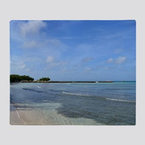 Deserted Tropical Beach in Aruba Throw Blanket