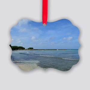 Deserted Tropical Beach in Aruba Picture Ornament