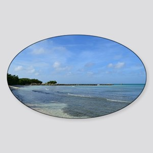 Deserted Tropical Beach in Aruba Sticker (Oval)