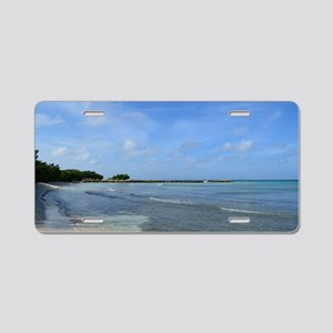 Deserted Tropical Beach in  Aluminum License Plate