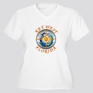 key west fish with compass and star Plus Size T-Sh