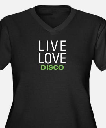 Live Love Di Women's Plus Size V-Neck Dark T-Shirt