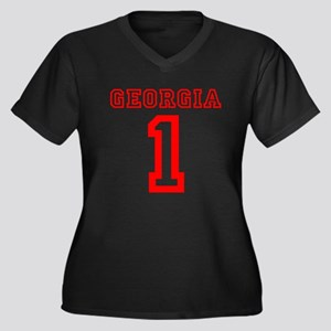 GEORGIA #1 Women's Plus Size V-Neck Dark T-Shirt