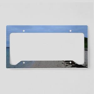 Pretty White Sand Coral Beach License Plate Holder