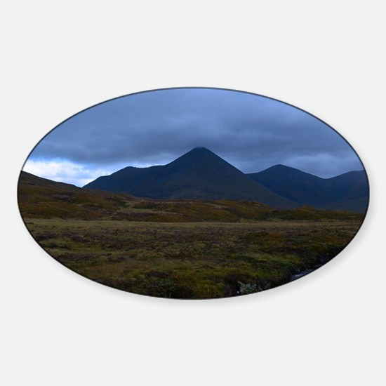 Black Cuillins Sticker (Oval)
