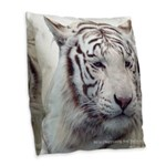 Disappearing Tigers Burlap Throw Pillow