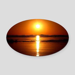 Sunset Oval Car Magnet