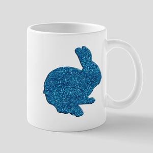 Blue Glitter Silhouette Easter Bunny Mugs
