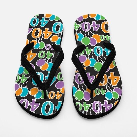 Colorful 40th Birthday Flip Flops