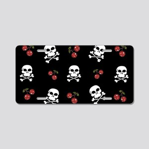 Skulls and Cherries Aluminum License Plate