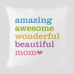 Amazing Mom Woven Throw Pillow